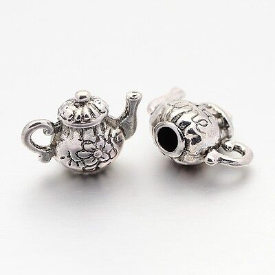 10 Teapot Charms Antiqued Silver Tea Party Charms 3D Charms Set
