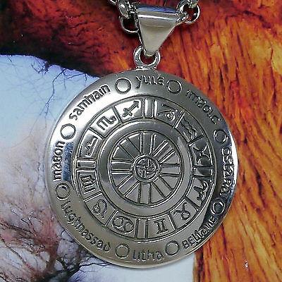 Freundlich Peter Stone Wicca Jahreskreis Amulett 925silber Jahresrad Zodiac Pagan Astrologi
