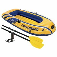 2 Person Small Inflatable Boat Set Rubber Raft Boating Float Dinghy Oars Air