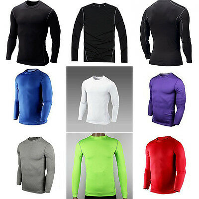 Mens Sports Compression Under Base Layer Top Tight Long Sleeve T-Shirts Tops L53