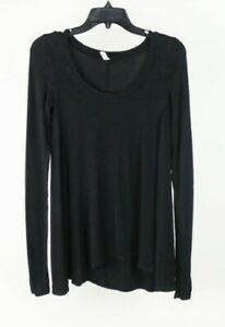 Free People Ribbed Thermal Long Sleeve Top Shirt Blouse Black Size XS