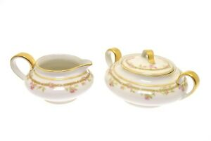 Details about Theodore Haviland Limoges France Pink Roses Green Link Gold  Cream & Sugar Set