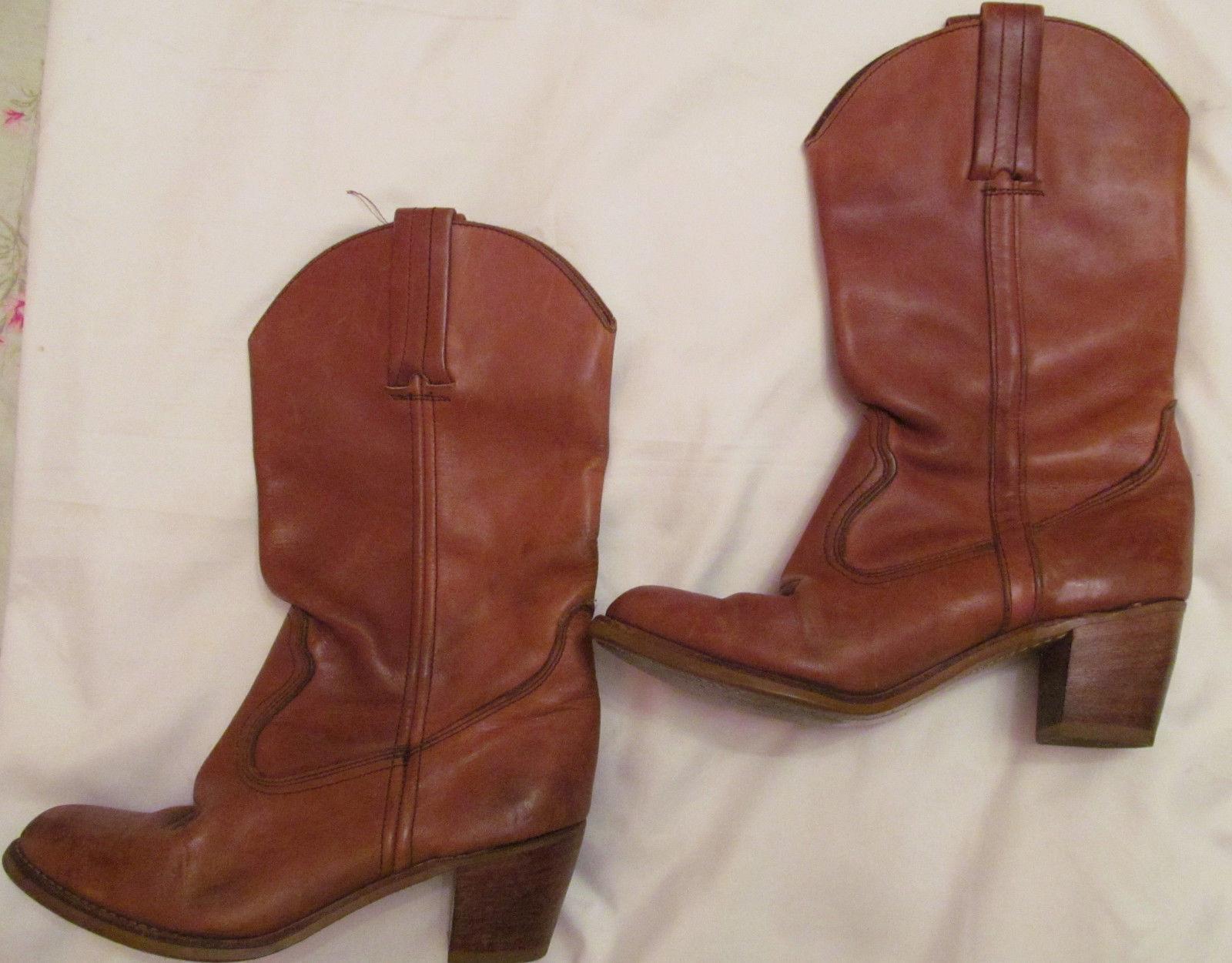 Vintage DEXTER cognac brown western cowboy boots 7.5 M