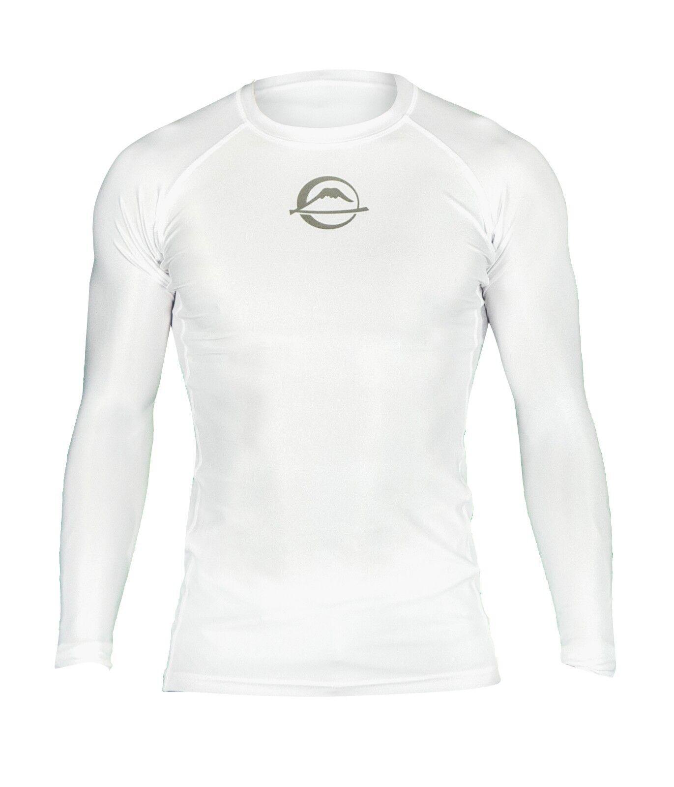 Fuji Sports Baseline IBJJF Ranked BJJ Jiu Jitsu Long Sleeve LS Rashguard - White