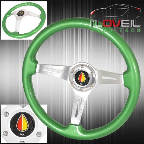 Universal Deep Dish Green Wood Grain Light Weight Aluminum Center Steering Wheel