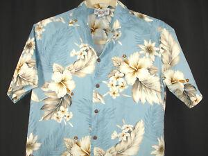 Pacific-Legend-Light-Blue-Hibiscus-Flowers-Floral-Hawaiian-Camp-Aloha-Shirt-Sz-M