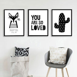 Details About Black White Fox Cactus Canvas Art Poster Cartoon Nursery Print Kids Room Decor