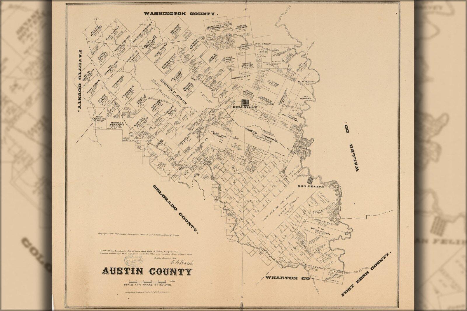 Plakat, Viele Größen; Karte von Austin Grafschaft Texas 1880