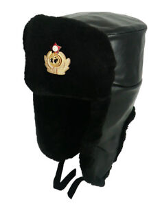 ca7f64d3057 Unisex Original Hat Eco Leather Black Soviet Ushanka Russian Navy ...