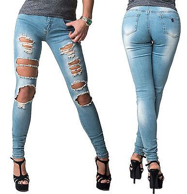 Damenjeans Damen Jeans Hose Röhrenjeans Destroyed Jeanshose Skinny Denim Röhre