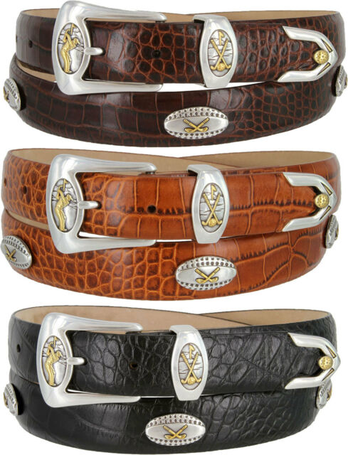 "Bellerive - Italian Calfskin Designer Golf Dress Belt 1-1/8"" Wide, Black Brown"