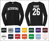 Redskins Custom Personalized Name & Number Long Sleeve Jersey T-shirt