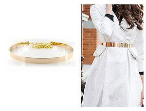 Damen-Guertel-Metal-Rose-Gold-Rund-Taille-Taillenguertel-One-Size-Metallic-GG