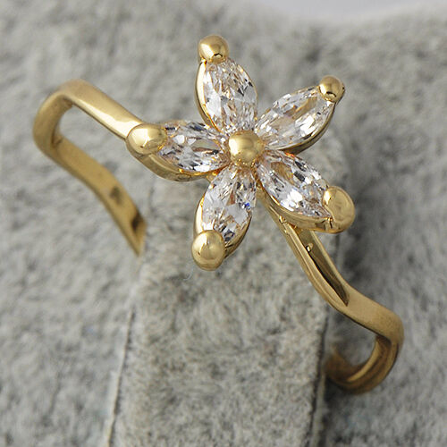 Gold Plated Womens Wedding Engagement Cubic Zirconia Flower Lady Rings Size 6