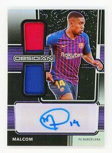 2020-21 Obsidian Soccer Malcom Dual Jersey Autograph Purple /75 FC Barcelona