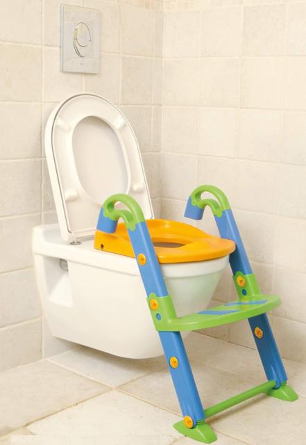 RANZIX 3 in 1 T/öpfchentrainer Toilettensitz f/ür Kinder Toilettentrainer Lernt/öpfchen mit Treppe Armlehnen PU Gepolstert Rutschfest H/öhenverstellbar Blau Gr/ün