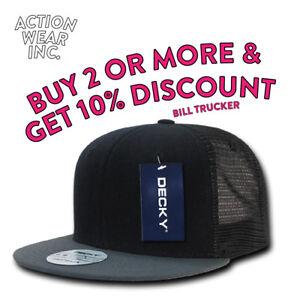DECKY-1052-MENS-HAT-FLAT-BILL-TRUCKER-HATS-CASUAL-BASEBALL-SNAP-BACK-MESH-CAP