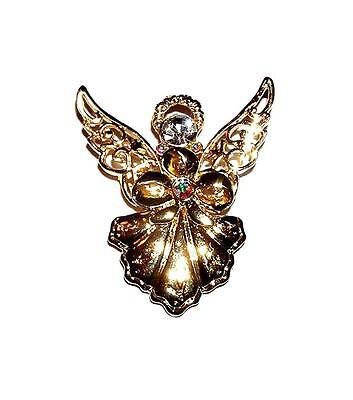 BROOCH/PIN GT AB Iridescent Rhinestone Accents Filigree Wings ANGEL WITH HALO