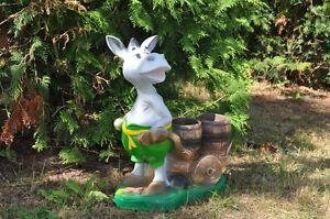 Esel Mit 2 Blumentopf Deko Garten Figur 50 X 45 Cm Gro Ebay