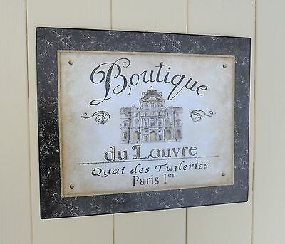 Boutique Du Louvre Large Retro Vintage Shabby chic  Style Tin Sign-Wall Plaque