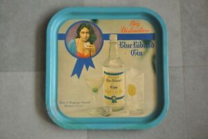 Vintage-Square-Shape-Blue-Riband-Dry-Gin-Ad-Litho-Tin-Tray