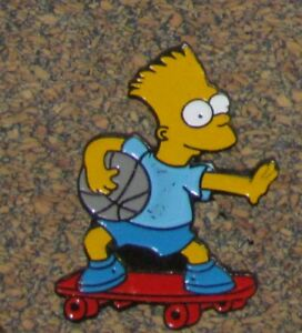 D6 Pin Bd Cartoon Comics Movie The Simpsons Bart Skateboard Red With Ball Ebay