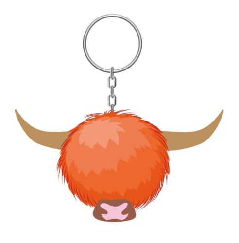 Scottish Toffee Highland Cow PomPom Fluffy Scotland Bag Purse Keyring Charm