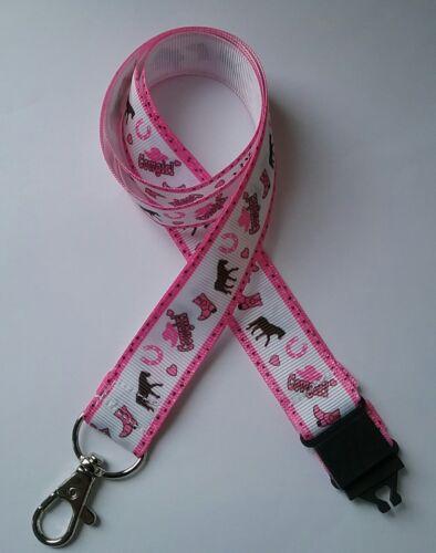 Rose Cheval Cowgirl Blanc Gros-Grain Ruban Lanyard ID Badge Holder étudiant Cadeau