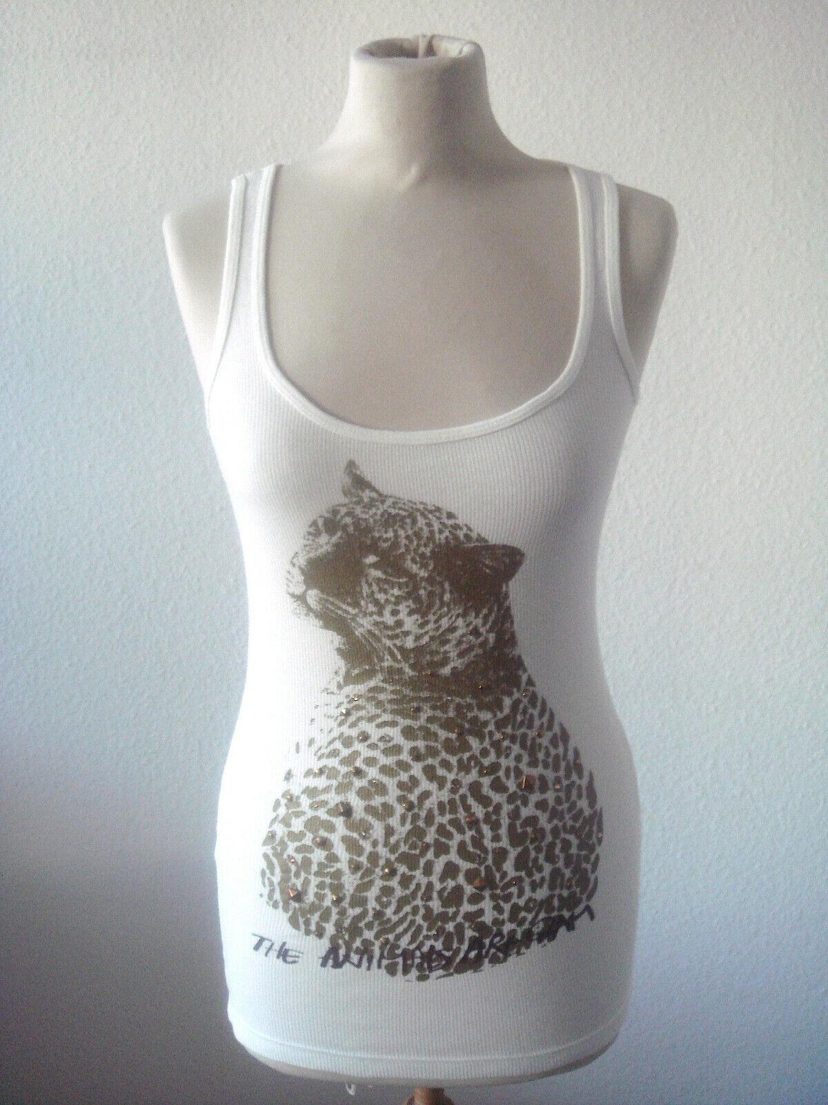 Patricia Field Top Débardeur Nervure Blanc avec Leopard Imprimé 100% Co Taille M