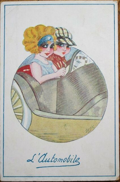 Art Deco, Susie/Artist-Signed 1920 Postcard: Car/Automobile, Young Drivers