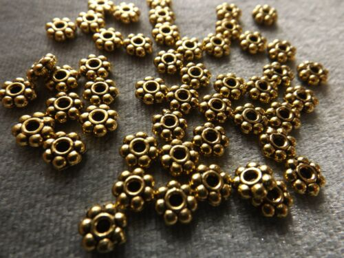 SPACER BEAD FINDING ANTIQUE GOLD FINISHED  DAISY RONDELLE 6X2 MM 50 PIECES