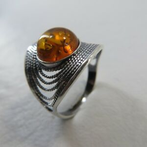 Size-7-5-EU-Size-56-Size-7-1-2-Cognac-Brown-BALTIC-AMBER-Ring-SILVER-2181