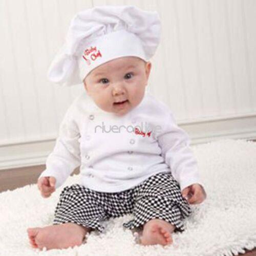 Neugeborenes Baby Junge Baumwolle Koch Outfits T-shirt Hose Kochmütze Mode 3-tlg