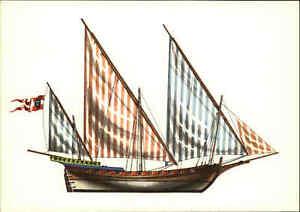 Schiff-Postkarte-Ship-Postcard-Segelschiff-SCHEBECKE-18-Jahrhundert-color-AK