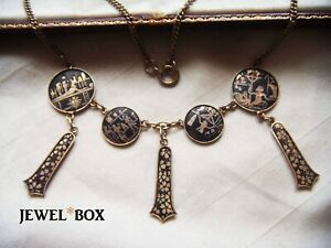 VINTAGE-JAPANESE-SHAKUDO-ENAMEL-ART-DECO-EGYPTIAN-REVIVAL-NECKLACE