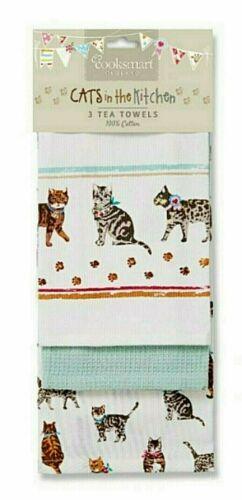 "3er-set vajilla pañuelos /""Cats on Parade/"" algodón Cooksmart Inglaterra"