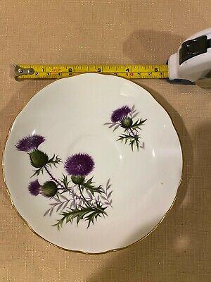Duchess Tea Cup Saucer Set Bone China Purple Thistle Flower Trio