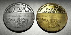 Pair of WINSTON CHURCHILL Commemorative Coins WW2 D-DAY LANDINGS Coin Hunt NEW