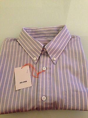 Jack Spade Bleeker Street Blue & White Striped Short Sleeve Button Down, Size L
