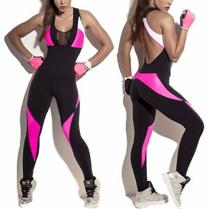 ec10d22fd43 Details about NEW Women Sport Yoga Gym Rompers Running Suit Fitness Workout  Jumpsuit Bodysuits