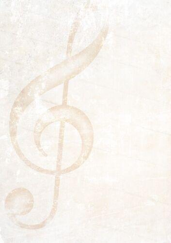 25 Blatt DIN A4 Motivpapier-201 Musik Briefpapier mit einem Notenschlüsel