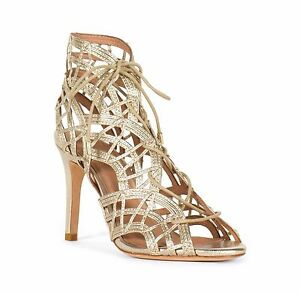 NWB Joie Leah White Gold Gladiator High Heel Sandals Lace Up Front 5(EU 35)