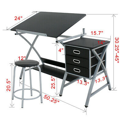 Adjustable Table Drafting Design, Art Desk With Storage