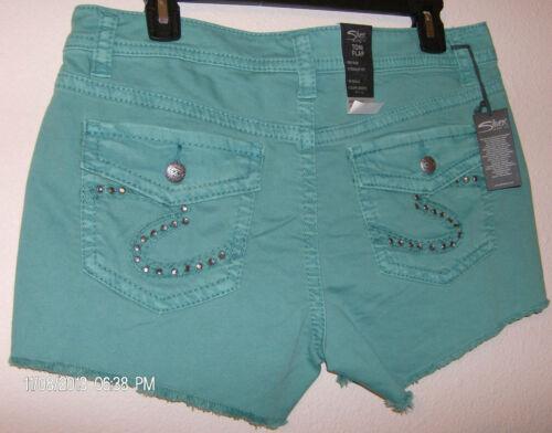 Denim Shorts Aqua Sizes 25  26  31  32  NWT Toni Flap Mid Rise Silver Jeans Co