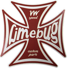 "Limebug VW 4 ""Iron Cross Adesivo Decalcomania DIE CUT Beetle Bus Bay Split Camper T1 T2"
