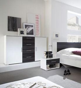schubkastenkommode kommode sideboard 132cm wei nussbaum schwarz 54024 ebay. Black Bedroom Furniture Sets. Home Design Ideas