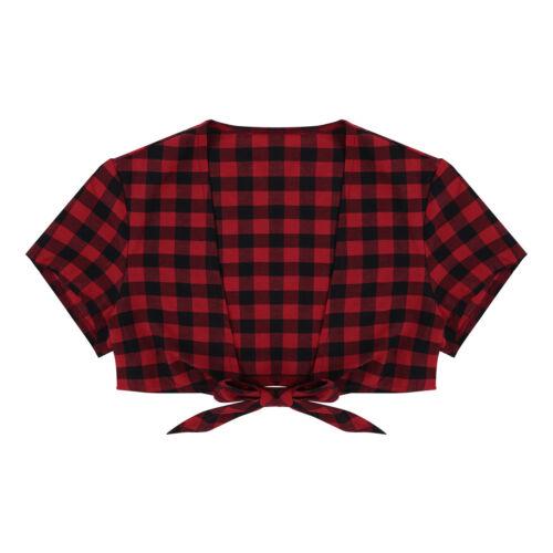 US-Womens Short Sleeve  Deep V Crop Top Plaid Bolero Shrug Tie-Front Open Shirt