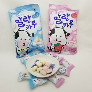 Lotte-Malang-Cow-Milk-amp-Strawberry-Milk-Soft-Chewy-Candy-Caramel-Korean-Sweets