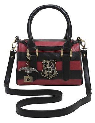 168124a9cbb8 Harry Potter Maroon   Black Stripe Metal Hogwarts Crest Barrel Crossbody Bag  NWT