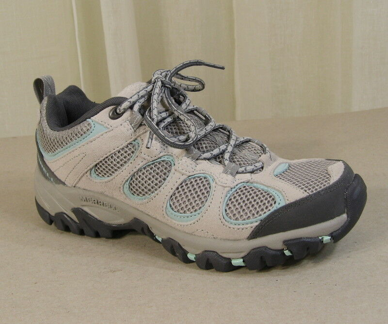 NEW MERRELL Women Hilltop Ventilator Lace-Up Hiking shoes US 7 Ice Eggshell Grey